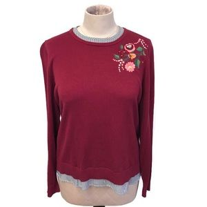 Crown & Ivy | Cranberry Embroidered Sweater | NWT